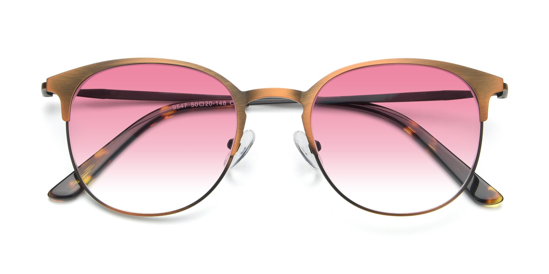 Folded Front of 9547 in Antique Bronze with Pink Gradient Lenses