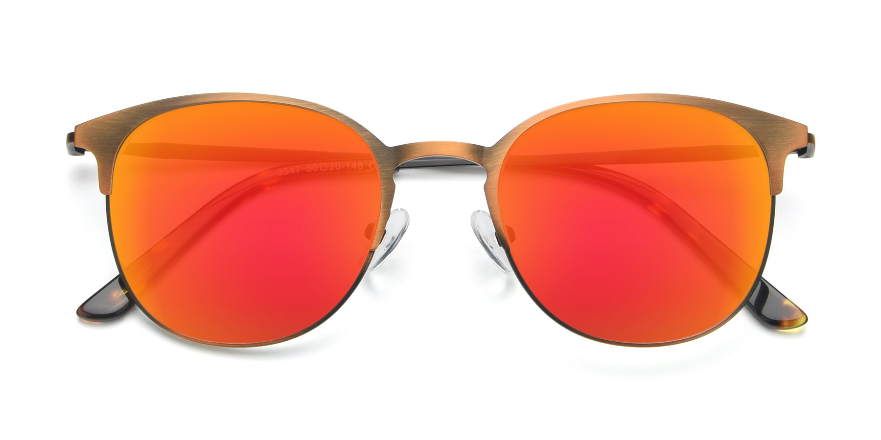 Folded Front of 9547 in Antique Bronze with Red Gold Mirrored Lenses