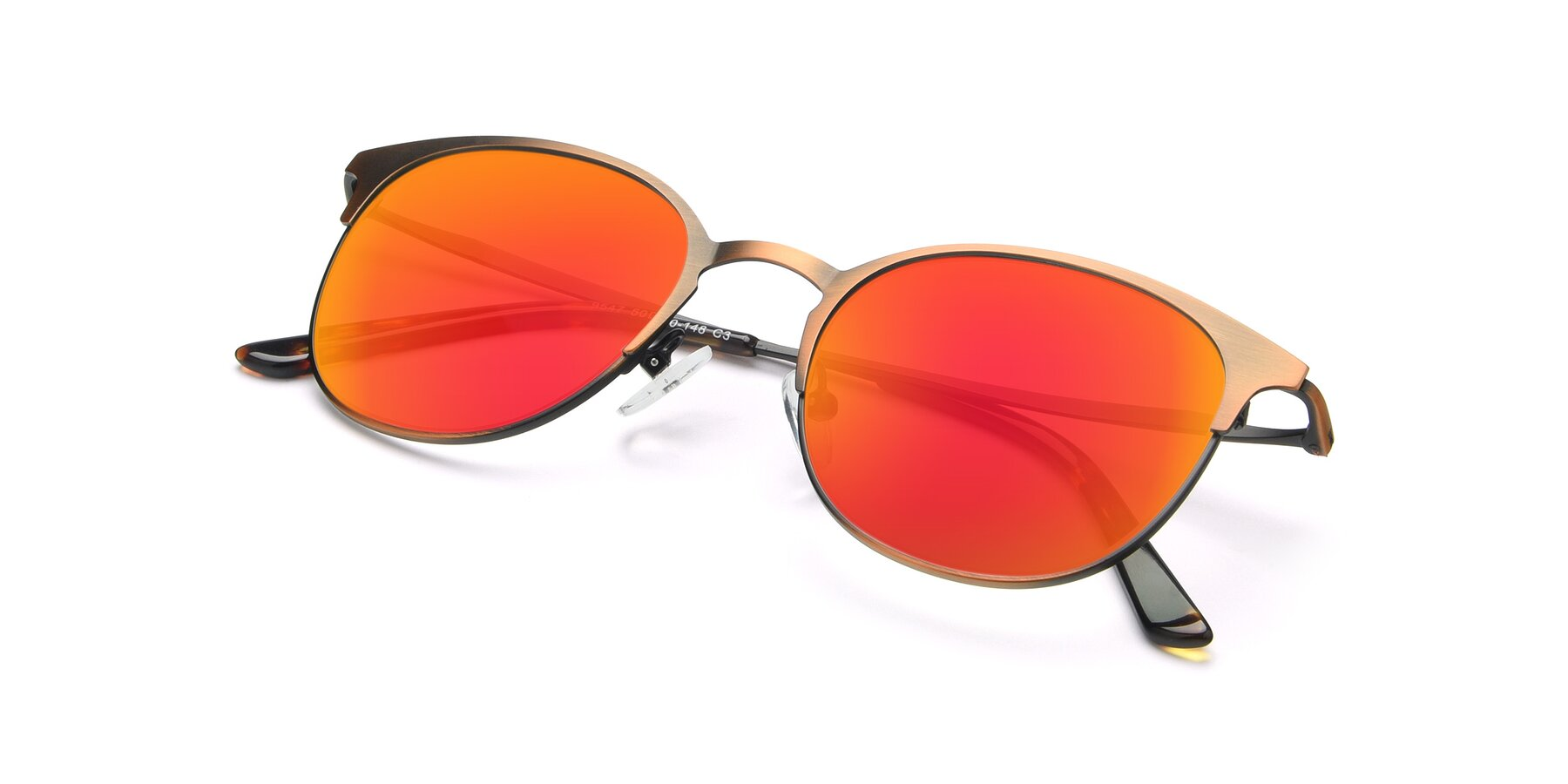 View of 9547 in Antique Bronze with Red Gold Mirrored Lenses
