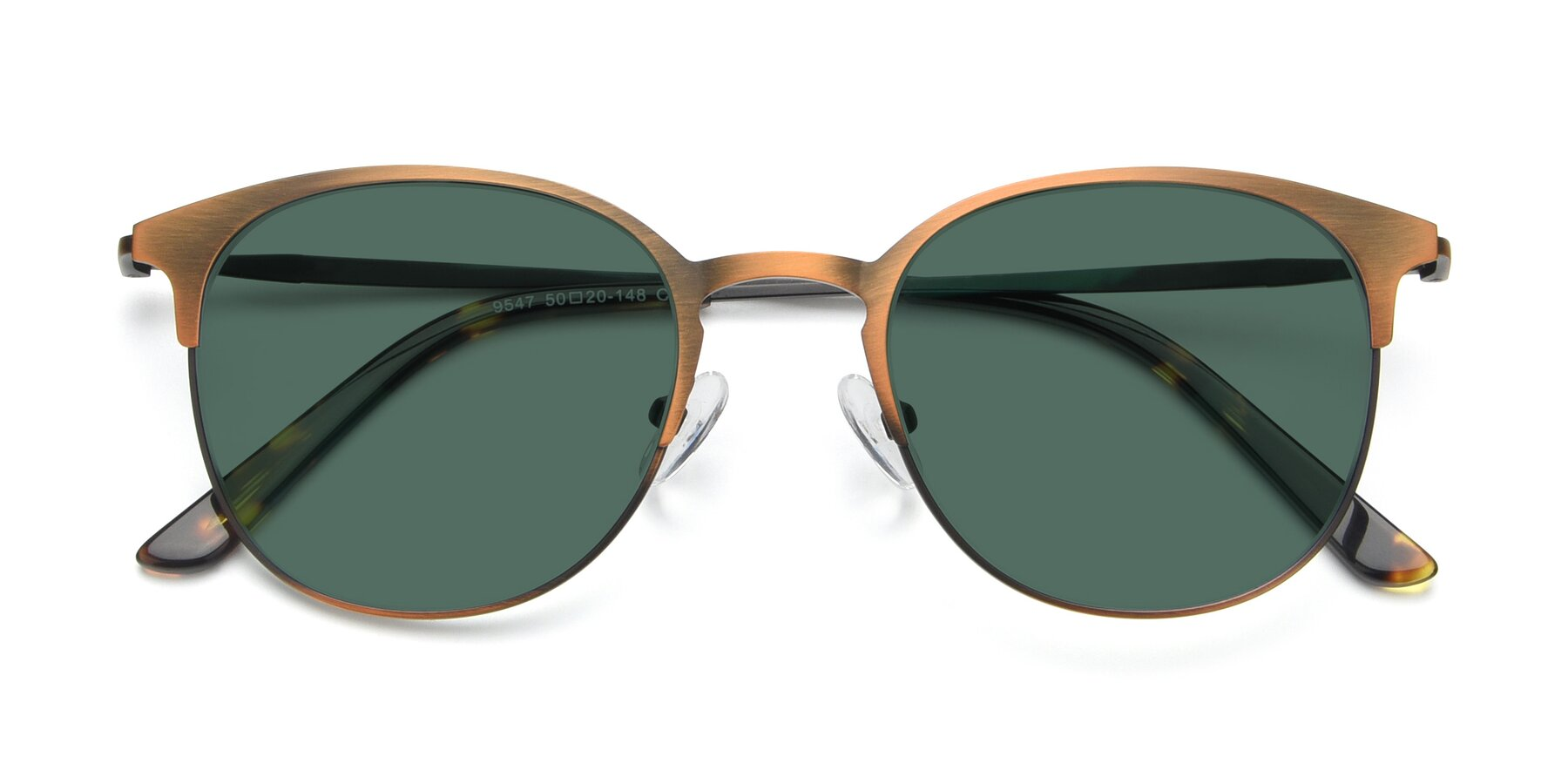 Folded Front of 9547 in Antique Bronze with Green Polarized Lenses