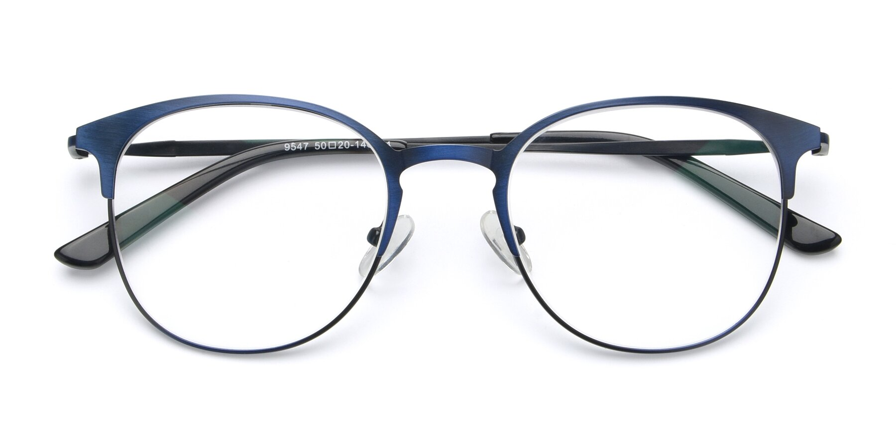 Folded Front of 9547 in Antique Blue with Clear Eyeglass Lenses