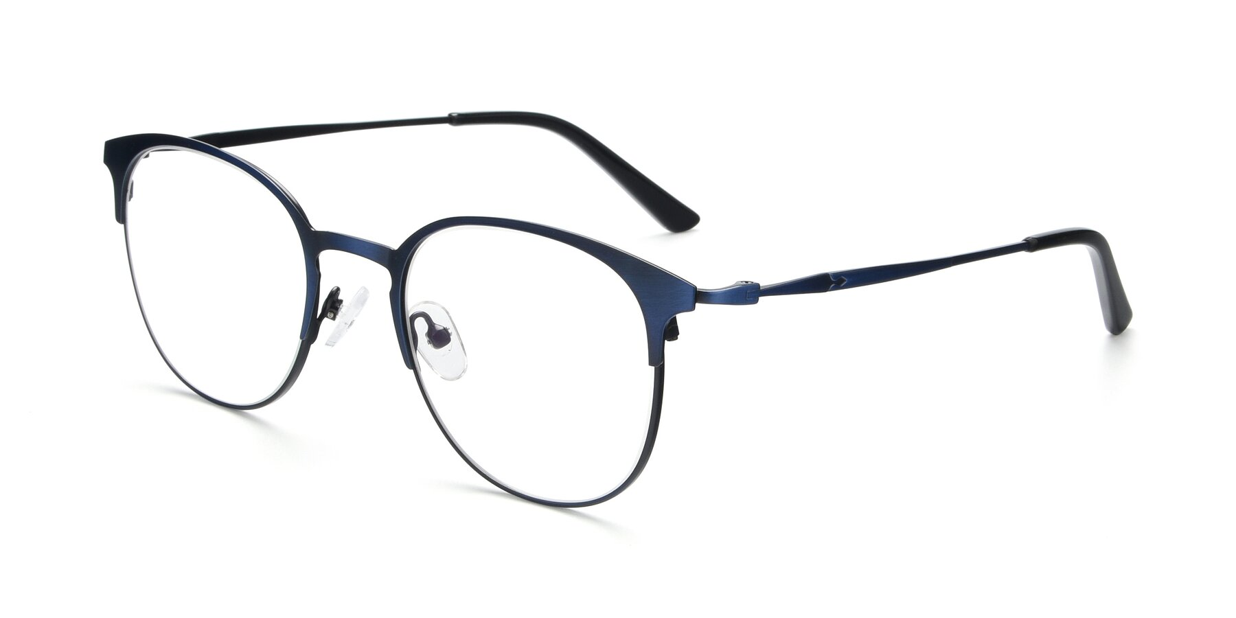 Angle of 9547 in Antique Blue with Clear Eyeglass Lenses