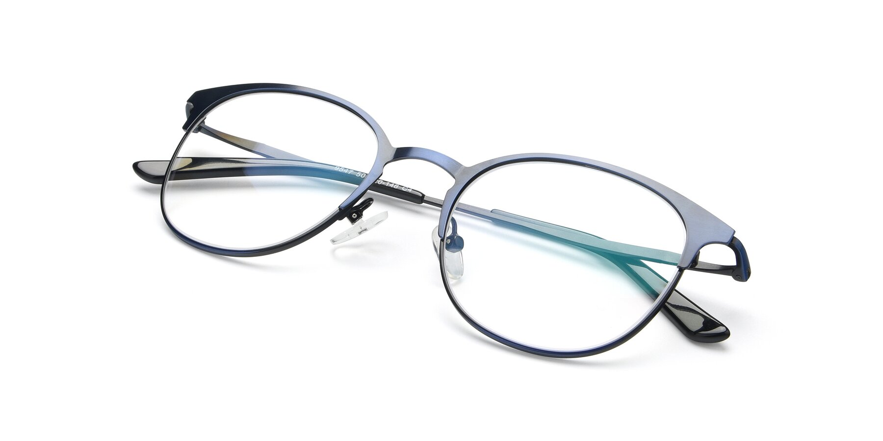 View of 9547 in Antique Blue with Clear Eyeglass Lenses