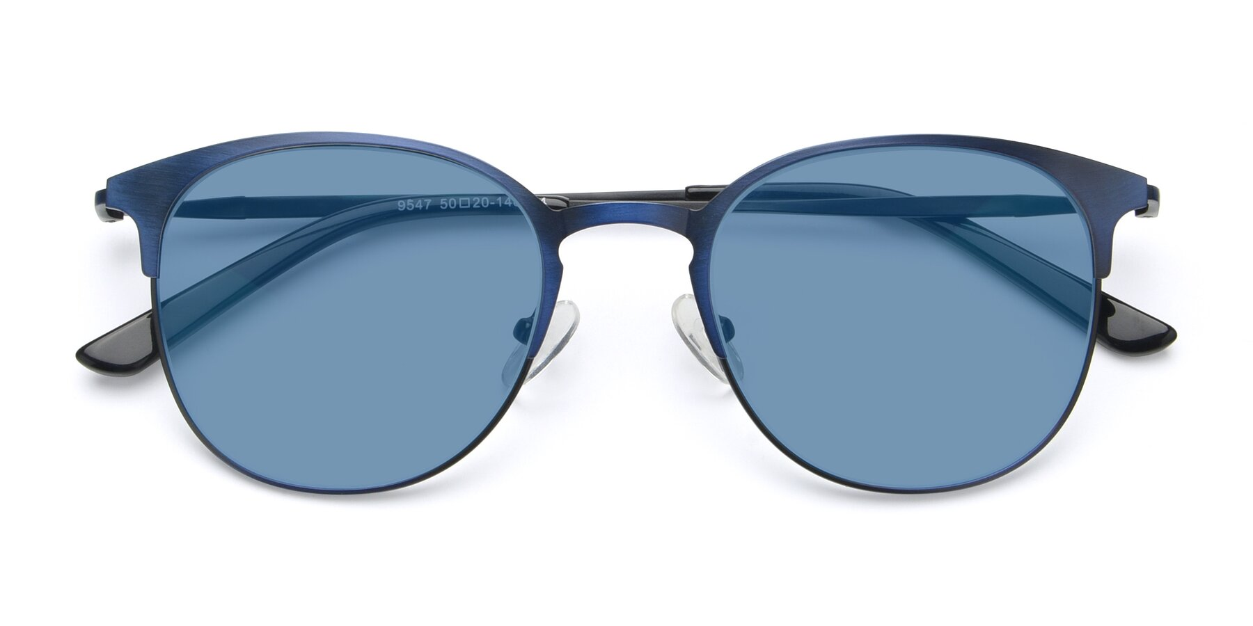 Folded Front of 9547 in Antique Blue with Medium Blue Tinted Lenses