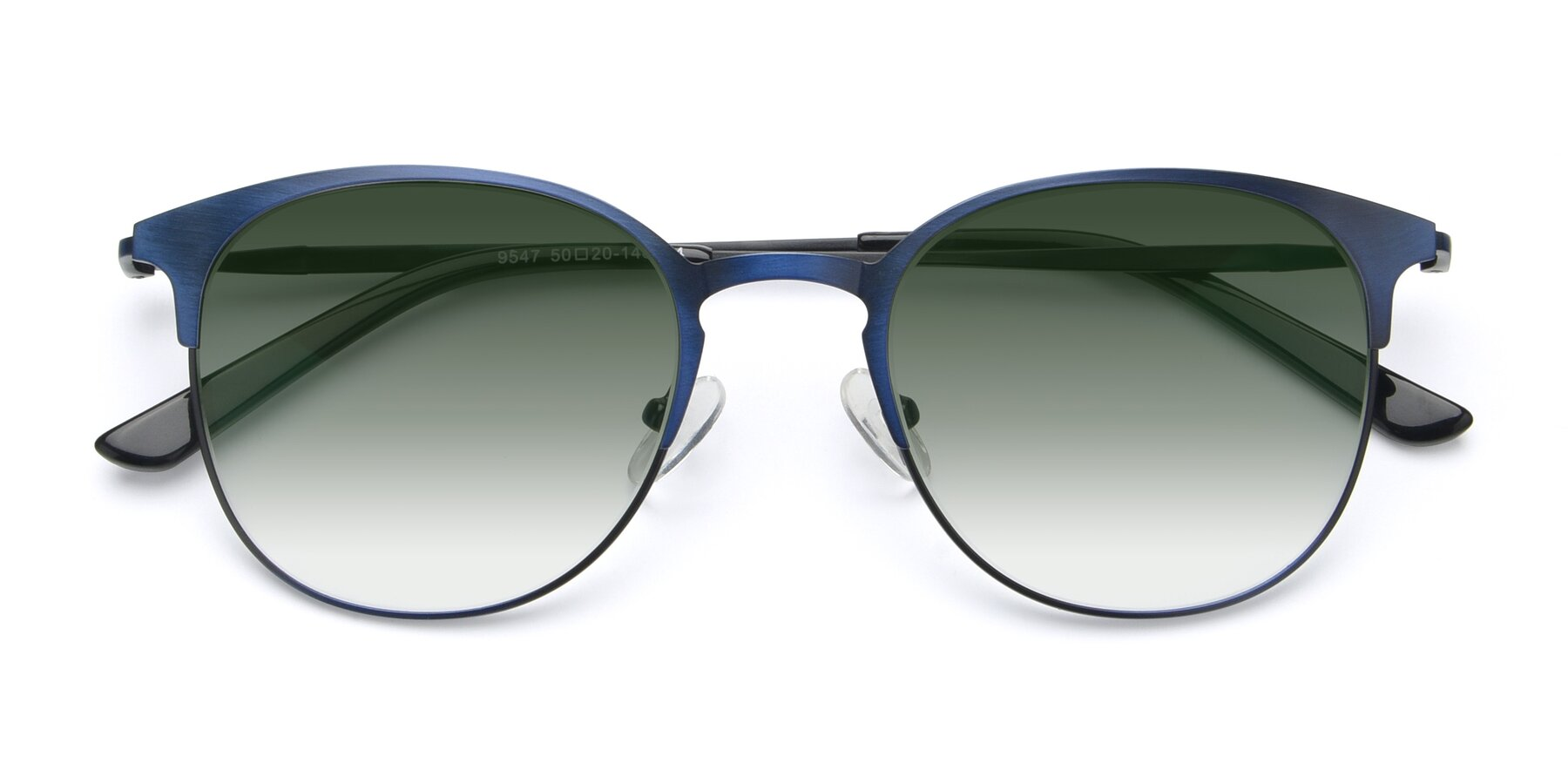 Folded Front of 9547 in Antique Blue with Green Gradient Lenses