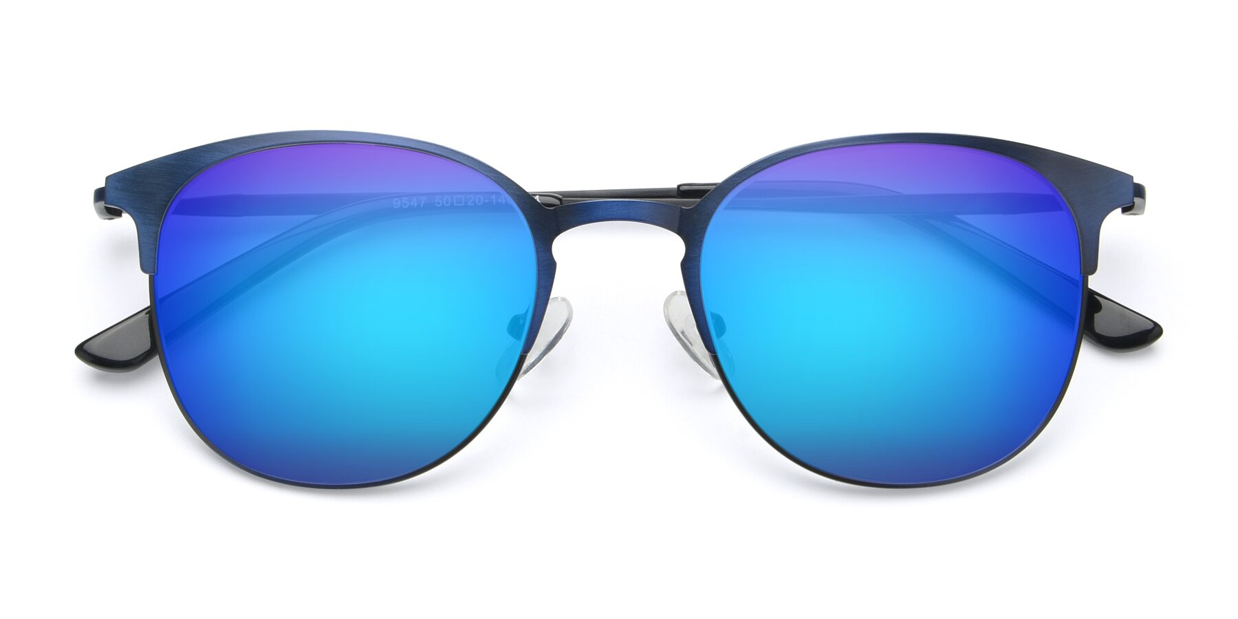 Folded Front of 9547 in Antique Blue with Blue Mirrored Lenses