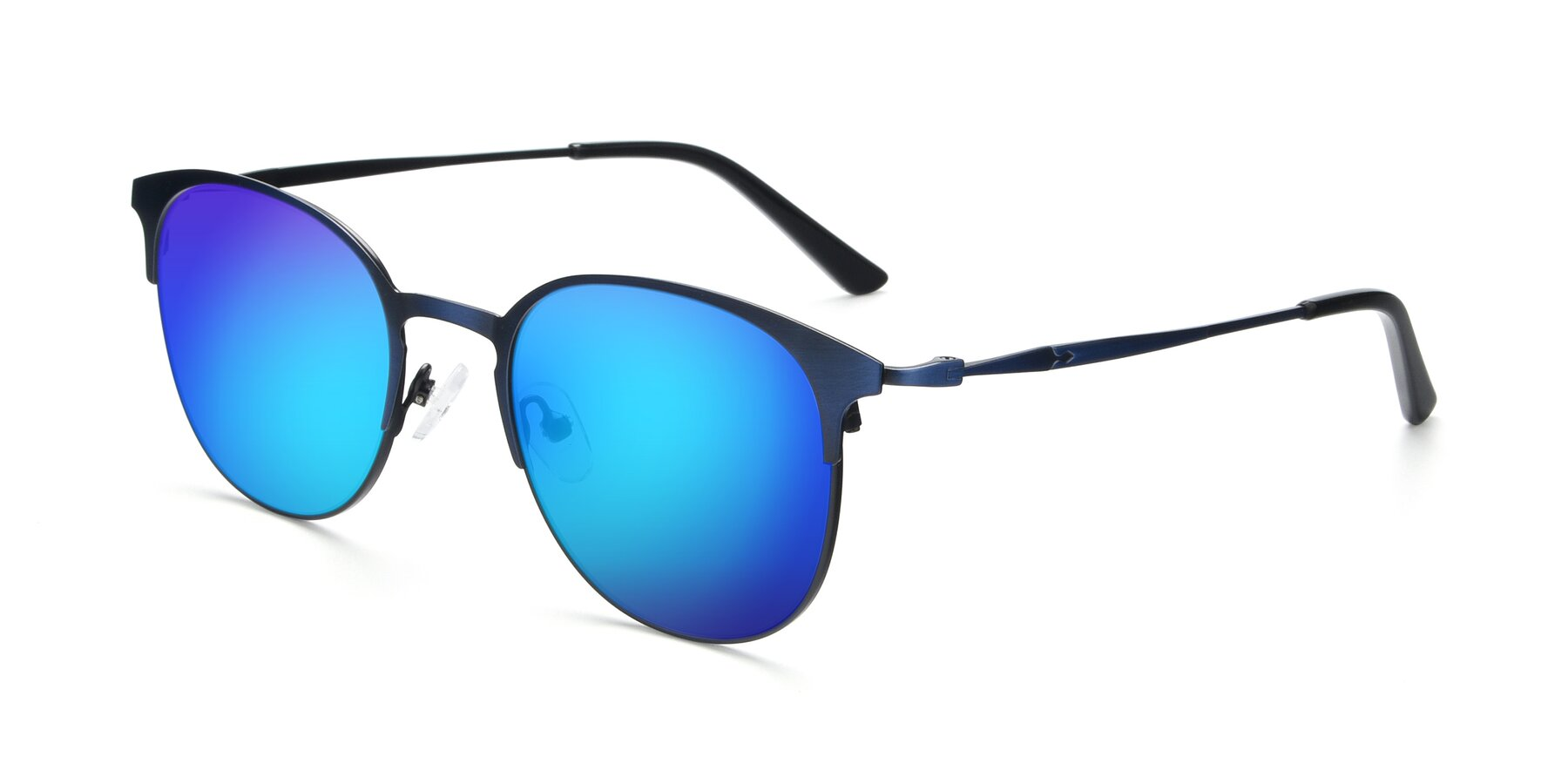 Angle of 9547 in Antique Blue with Blue Mirrored Lenses