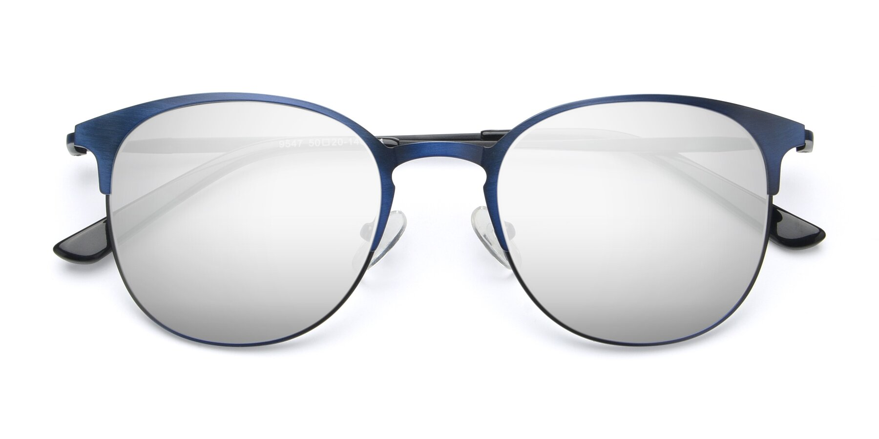 Folded Front of 9547 in Antique Blue with Silver Mirrored Lenses