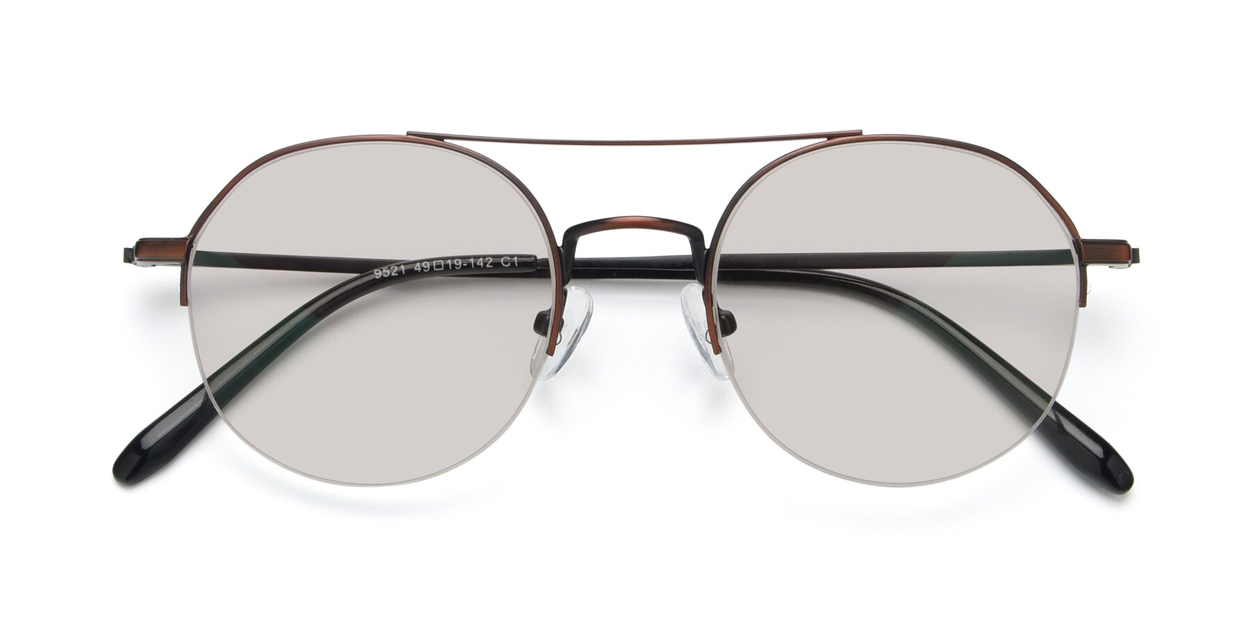 Folded Front of 9521 in Brown with Light Brown Tinted Lenses