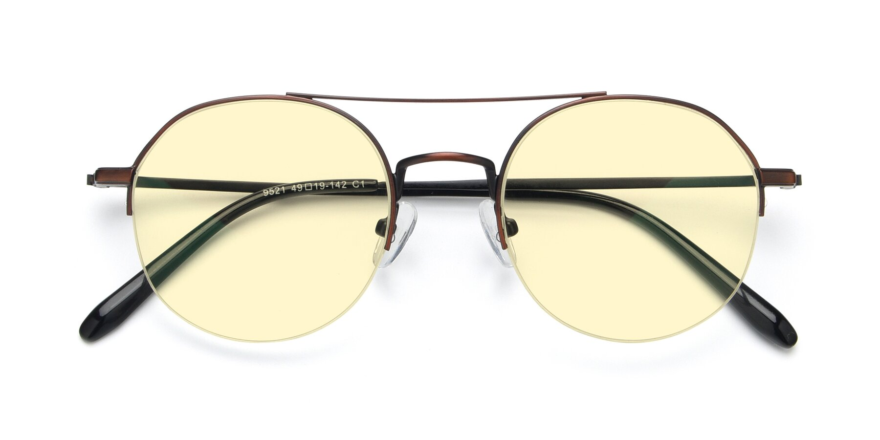 Folded Front of 9521 in Brown with Light Yellow Tinted Lenses