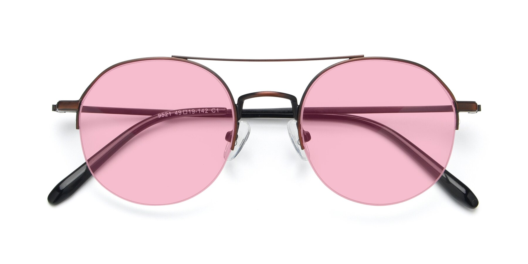 Folded Front of 9521 in Brown with Medium Pink Tinted Lenses