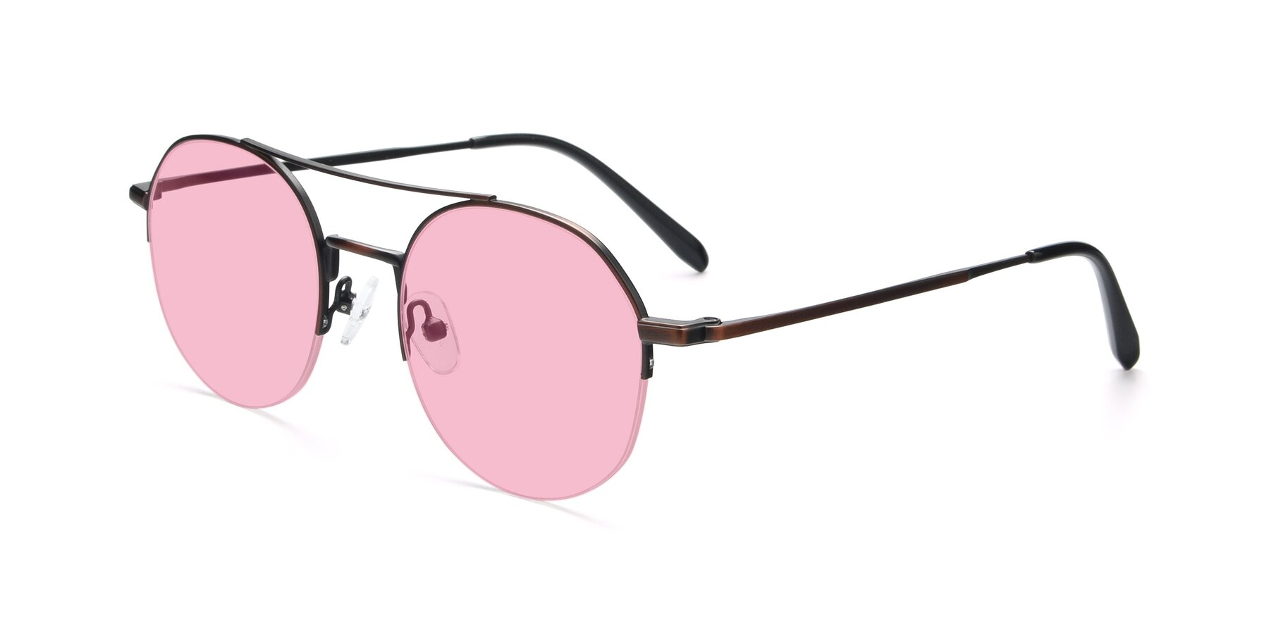 Angle of 9521 in Brown with Medium Pink Tinted Lenses