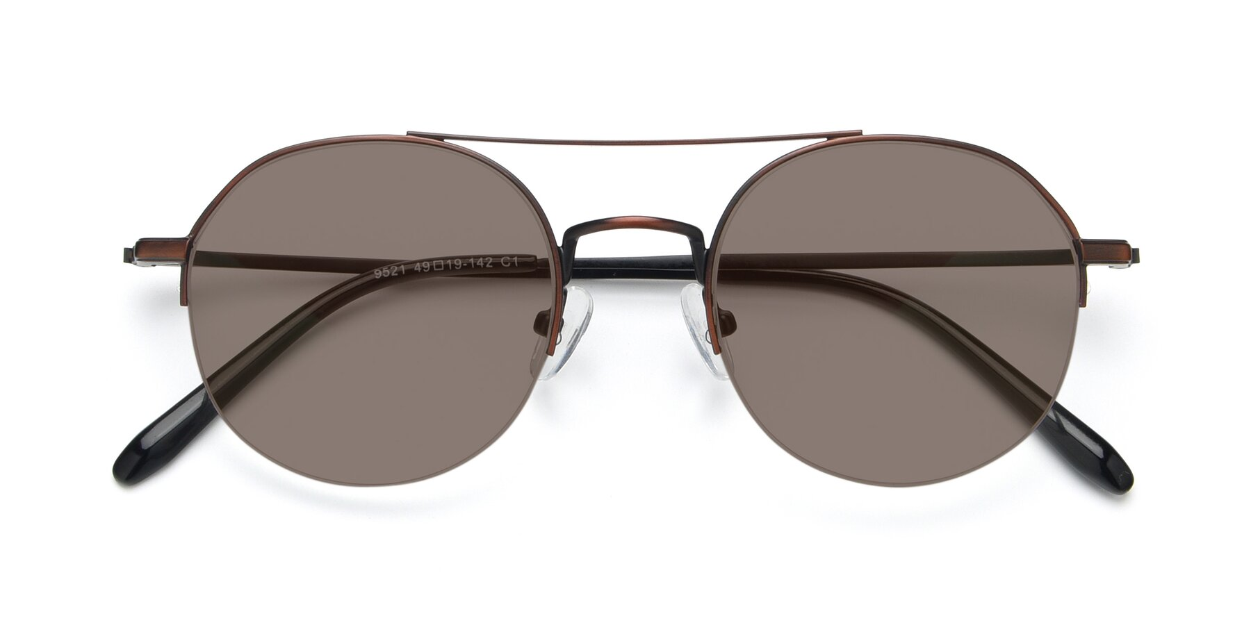 Folded Front of 9521 in Brown with Medium Brown Tinted Lenses