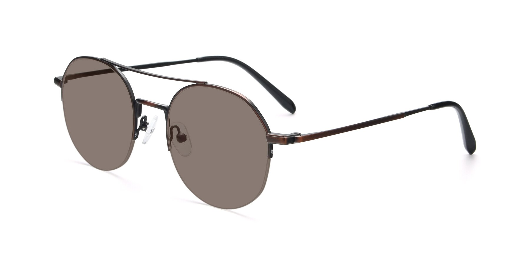 Angle of 9521 in Brown with Medium Brown Tinted Lenses