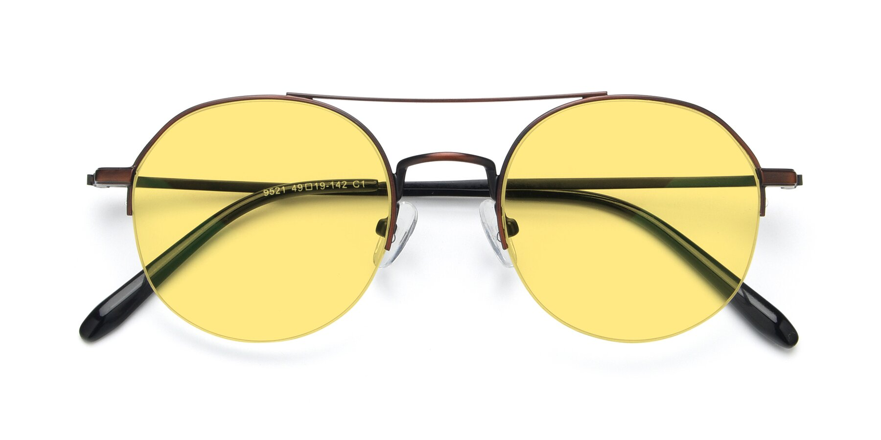 Folded Front of 9521 in Brown with Medium Yellow Tinted Lenses