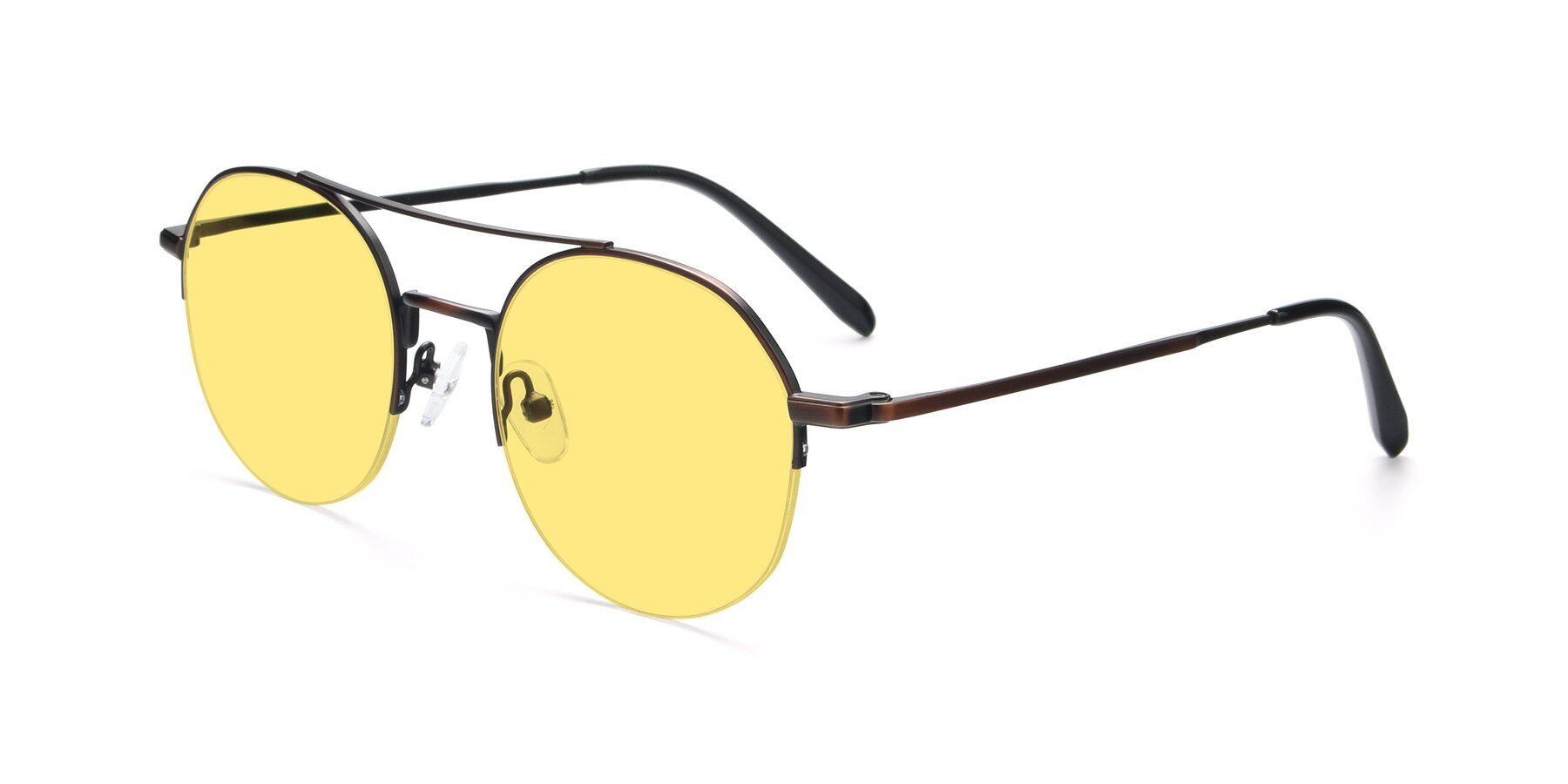 Angle of 9521 in Brown with Medium Yellow Tinted Lenses