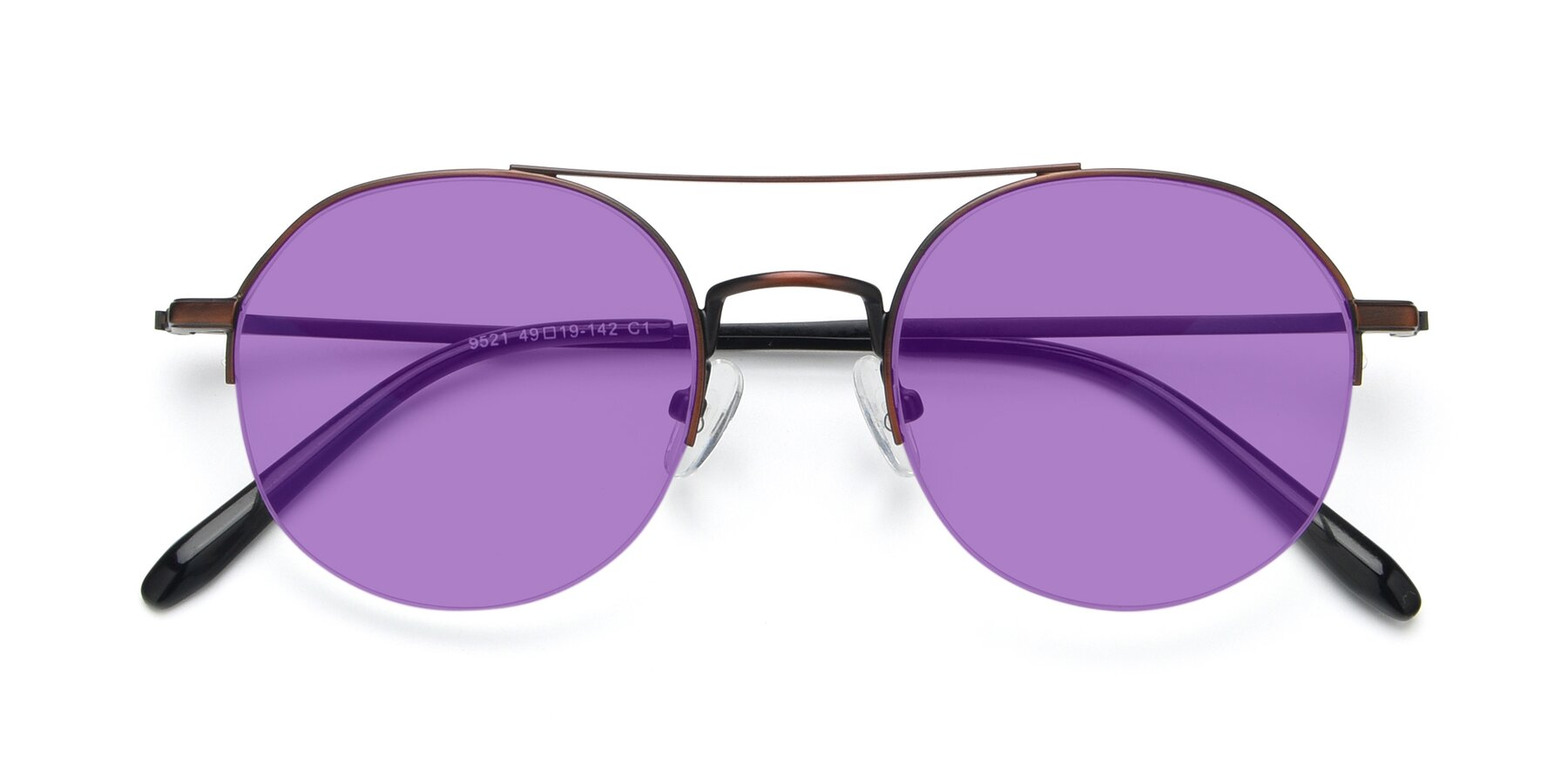 Folded Front of 9521 in Brown with Medium Purple Tinted Lenses