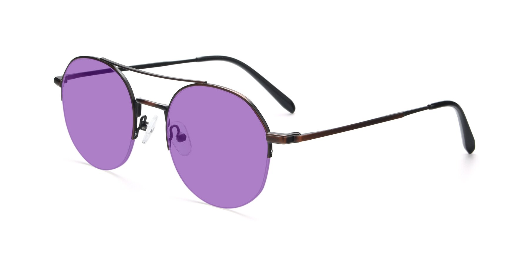Angle of 9521 in Brown with Medium Purple Tinted Lenses