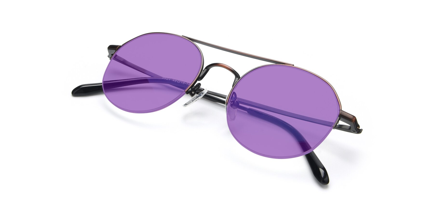 View of 9521 in Brown with Medium Purple Tinted Lenses