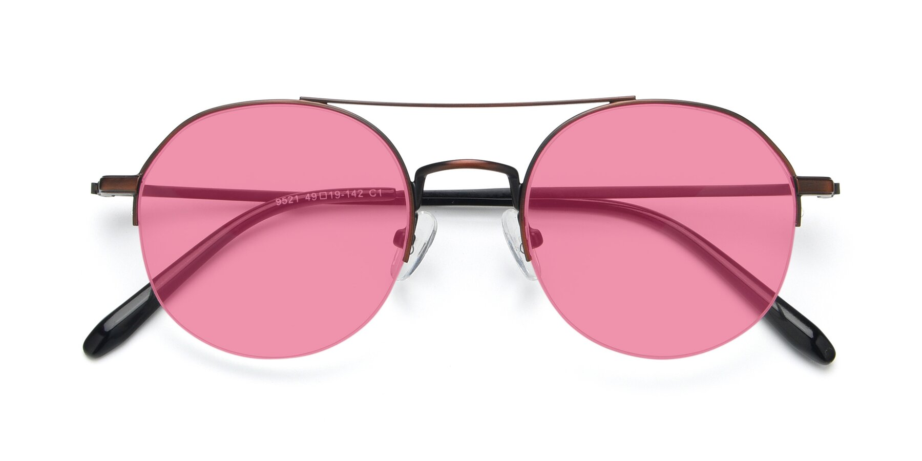 Folded Front of 9521 in Brown with Pink Tinted Lenses