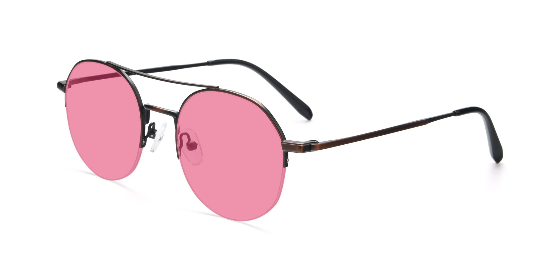 Angle of 9521 in Brown with Pink Tinted Lenses