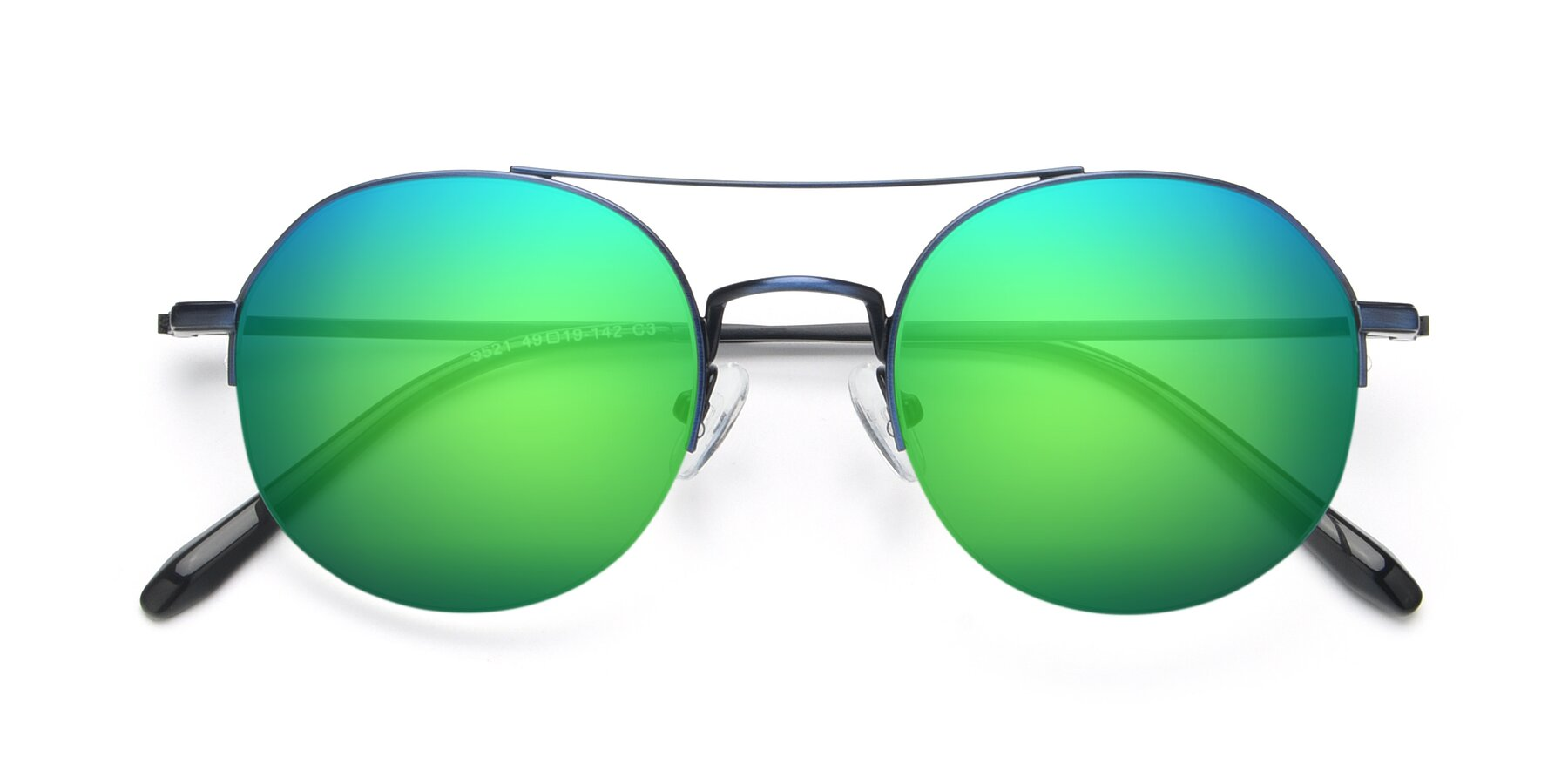 Folded Front of 9521 in Blue with Green Mirrored Lenses
