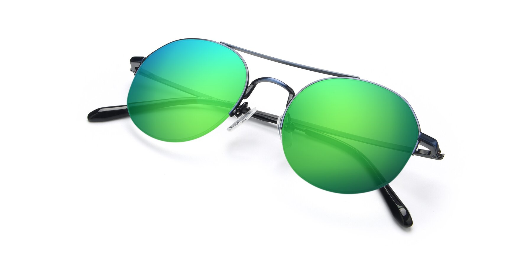View of 9521 in Blue with Green Mirrored Lenses
