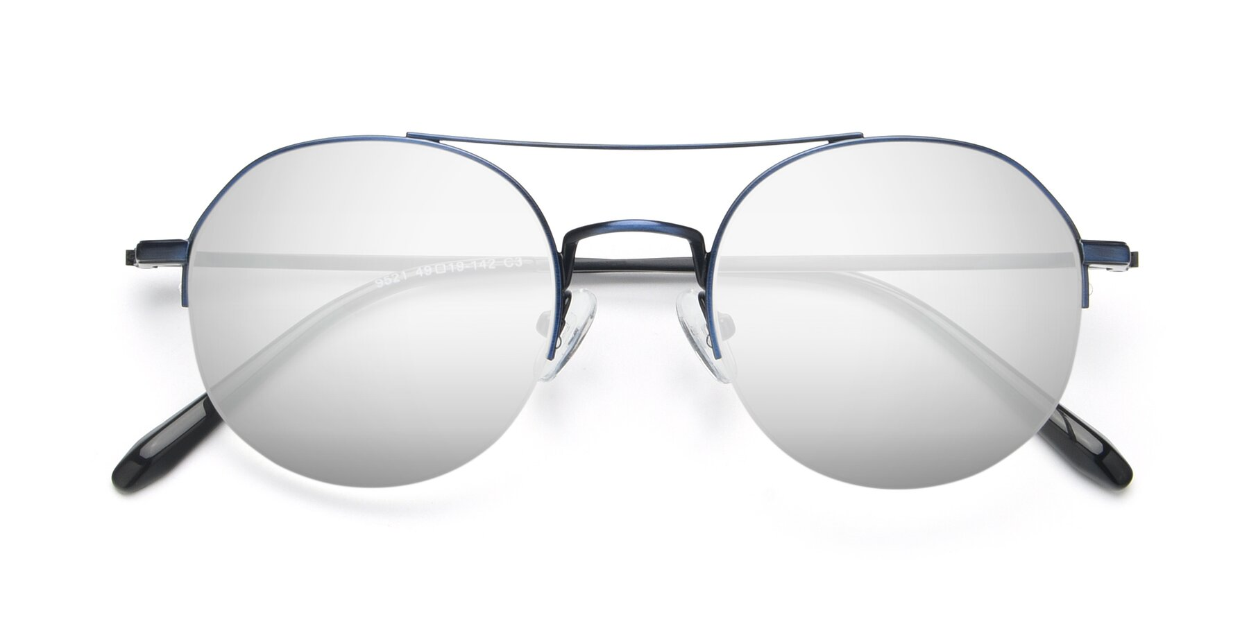 Folded Front of 9521 in Blue with Silver Mirrored Lenses