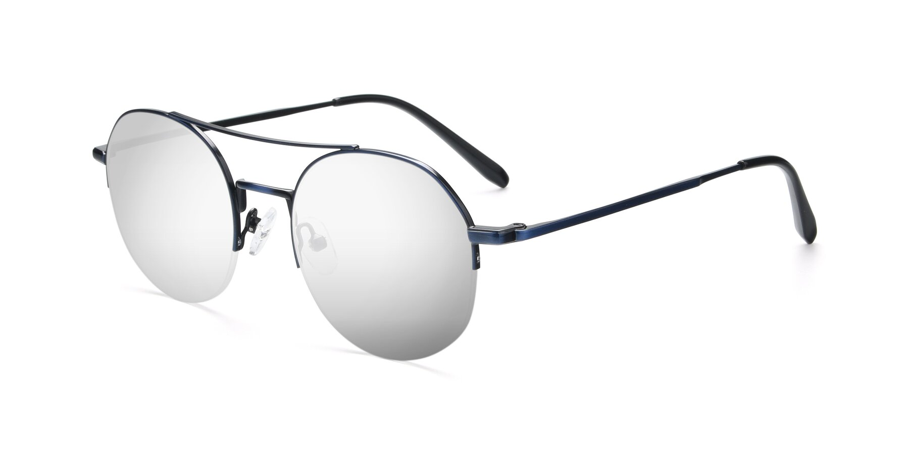 Angle of 9521 in Blue with Silver Mirrored Lenses