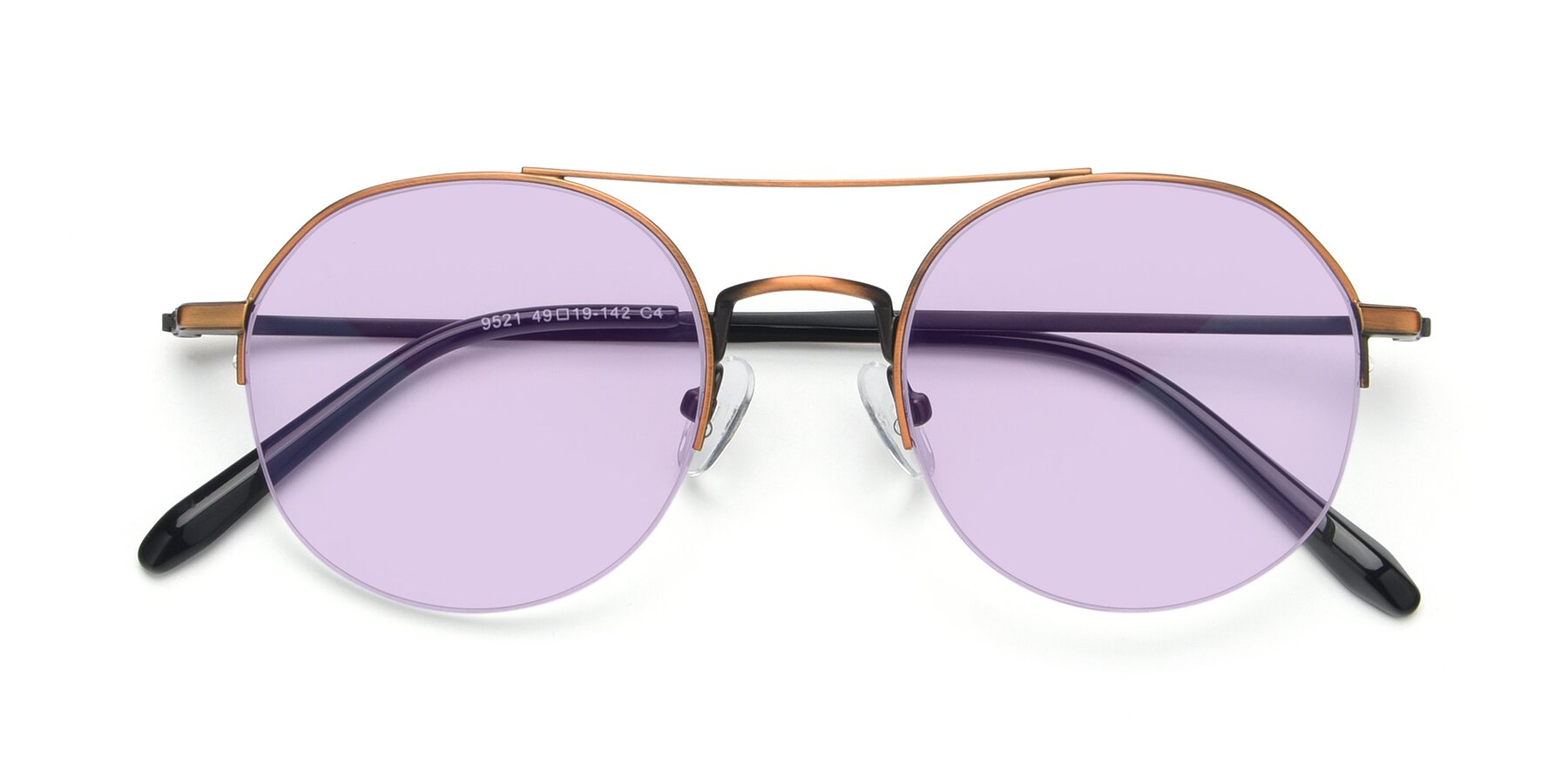 Folded Front of 9521 in Bronze with Light Purple Tinted Lenses