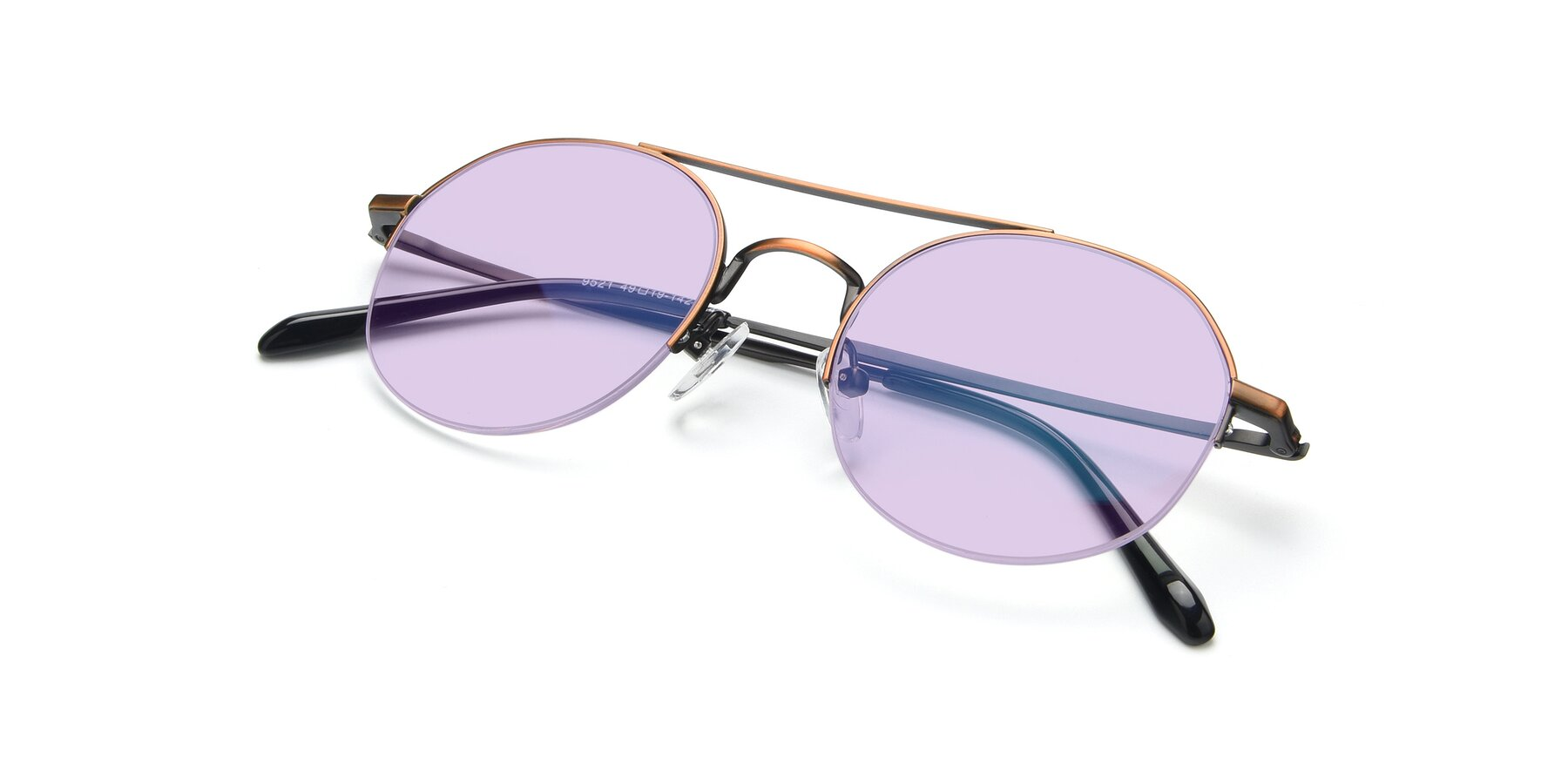 View of 9521 in Bronze with Light Purple Tinted Lenses