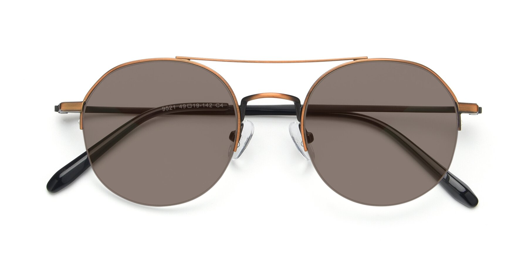 Folded Front of 9521 in Bronze with Medium Brown Tinted Lenses