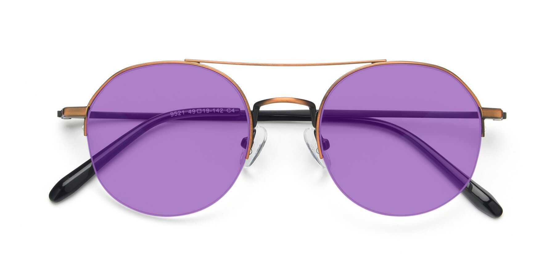 Folded Front of 9521 in Bronze with Medium Purple Tinted Lenses