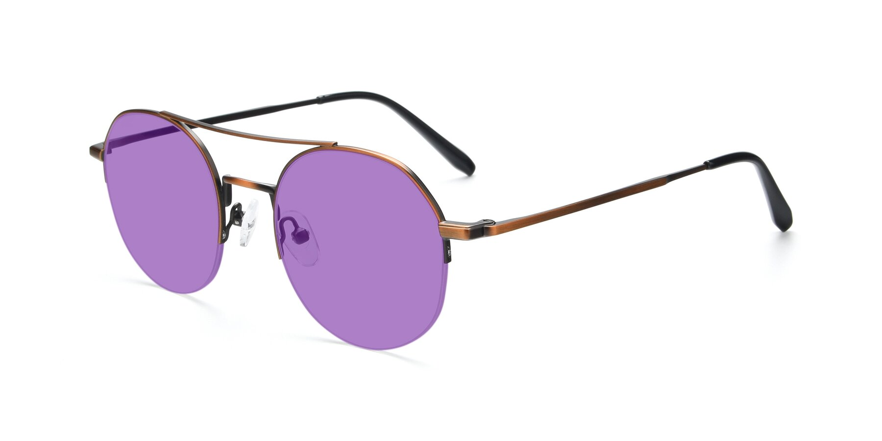 Angle of 9521 in Bronze with Medium Purple Tinted Lenses