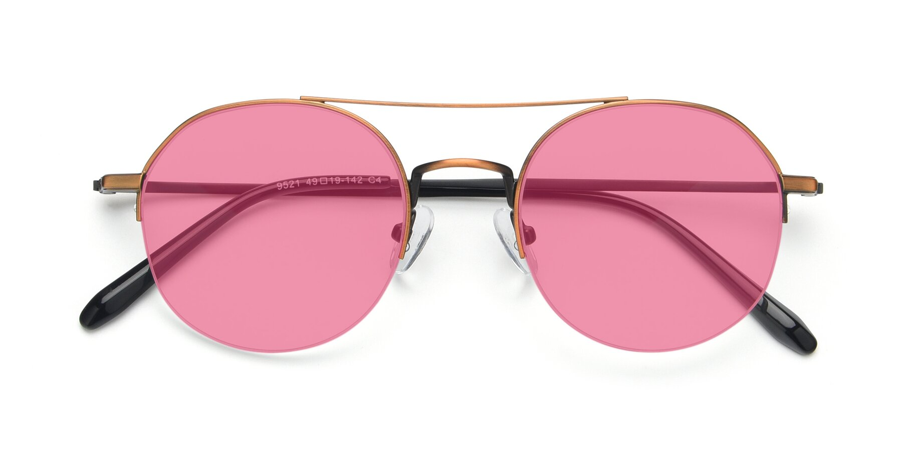Folded Front of 9521 in Bronze with Pink Tinted Lenses