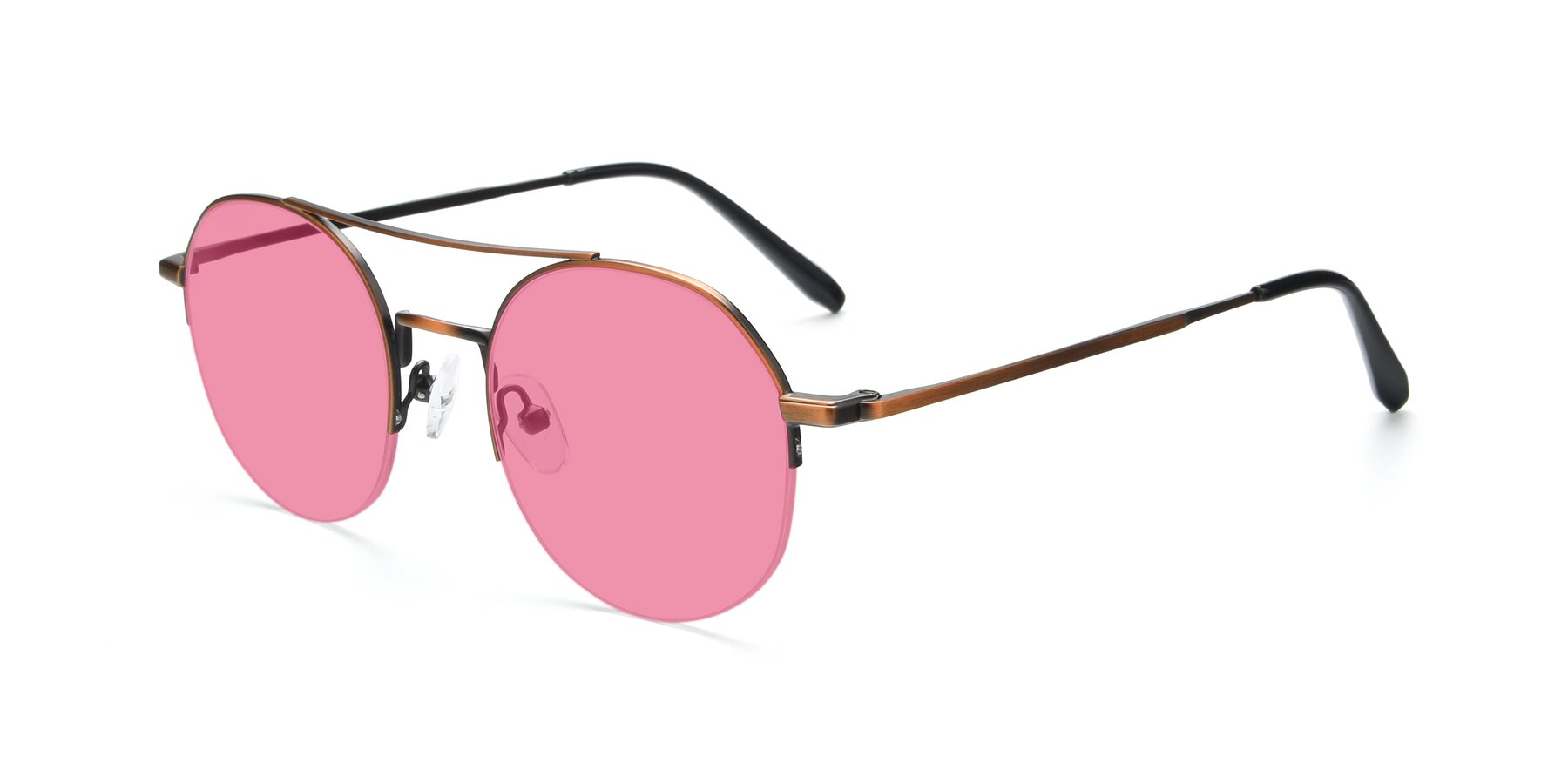 Angle of 9521 in Bronze with Pink Tinted Lenses