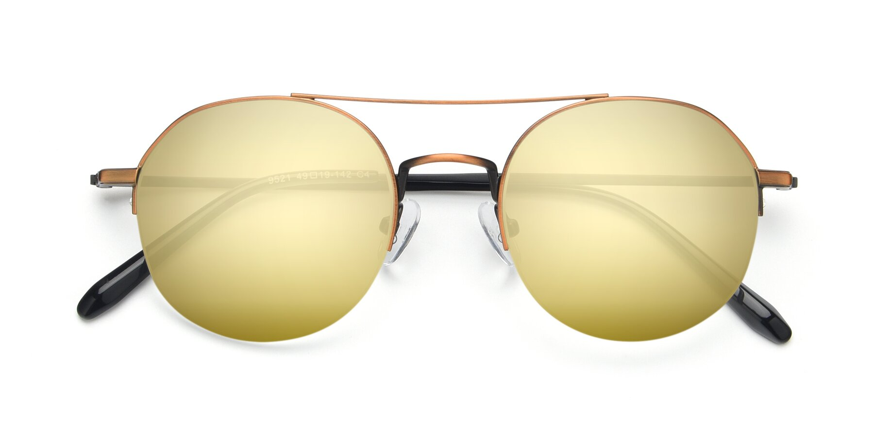 Folded Front of 9521 in Bronze with Gold Mirrored Lenses