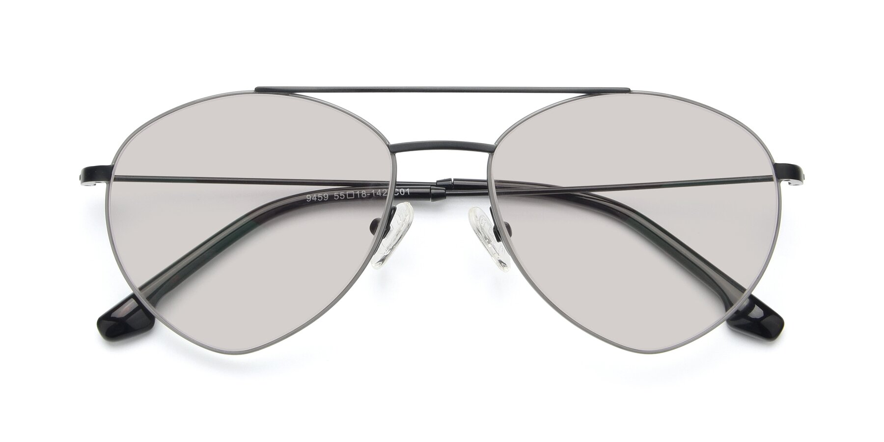 Folded Front of 9459 in Matte Black-Grey with Light Brown Tinted Lenses