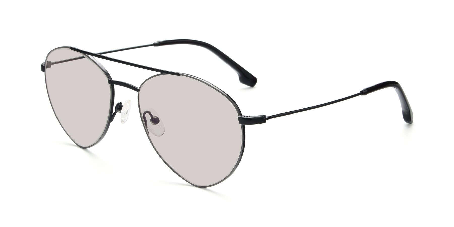 Angle of 9459 in Matte Black-Grey with Light Brown Tinted Lenses