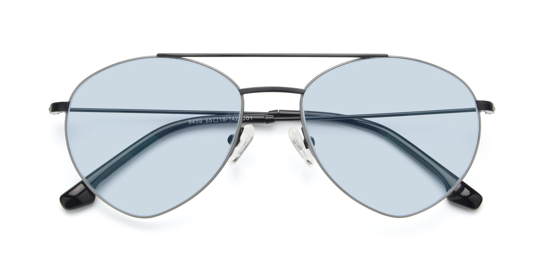 Folded Front of 9459 in Matte Black-Grey with Light Blue Tinted Lenses