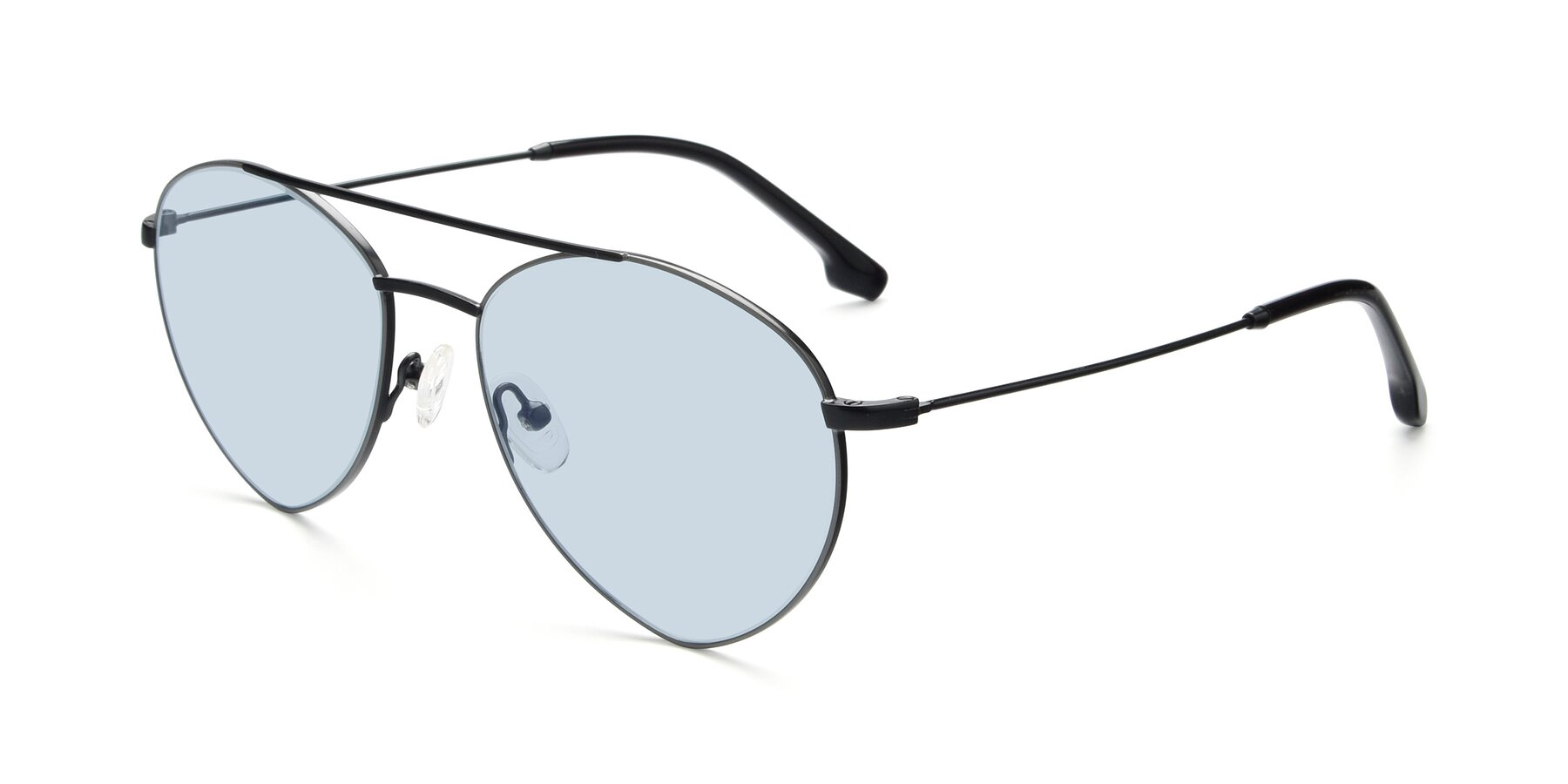 Angle of 9459 in Matte Black-Grey with Light Blue Tinted Lenses