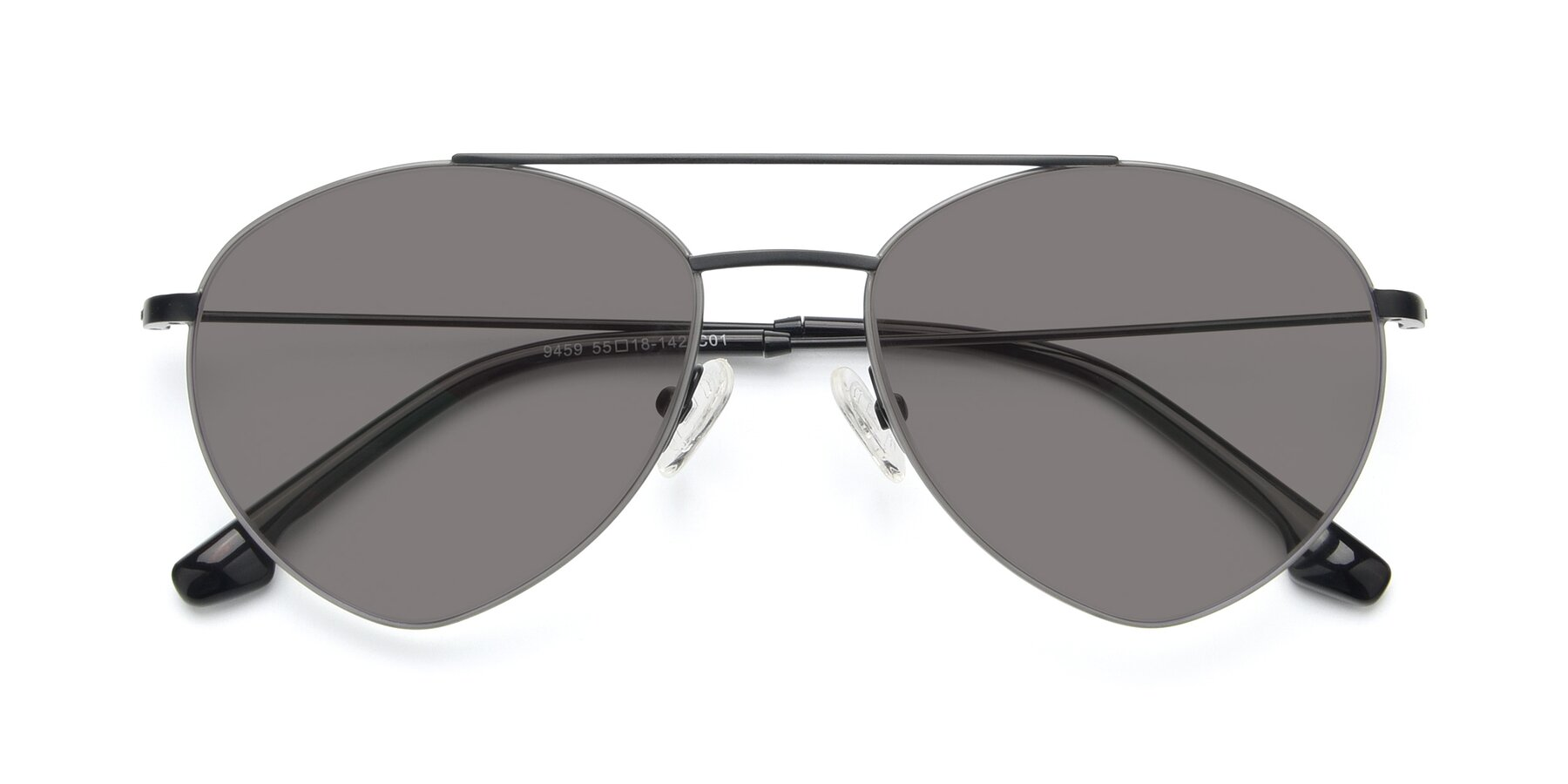 Folded Front of 9459 in Matte Black-Grey with Medium Gray Tinted Lenses