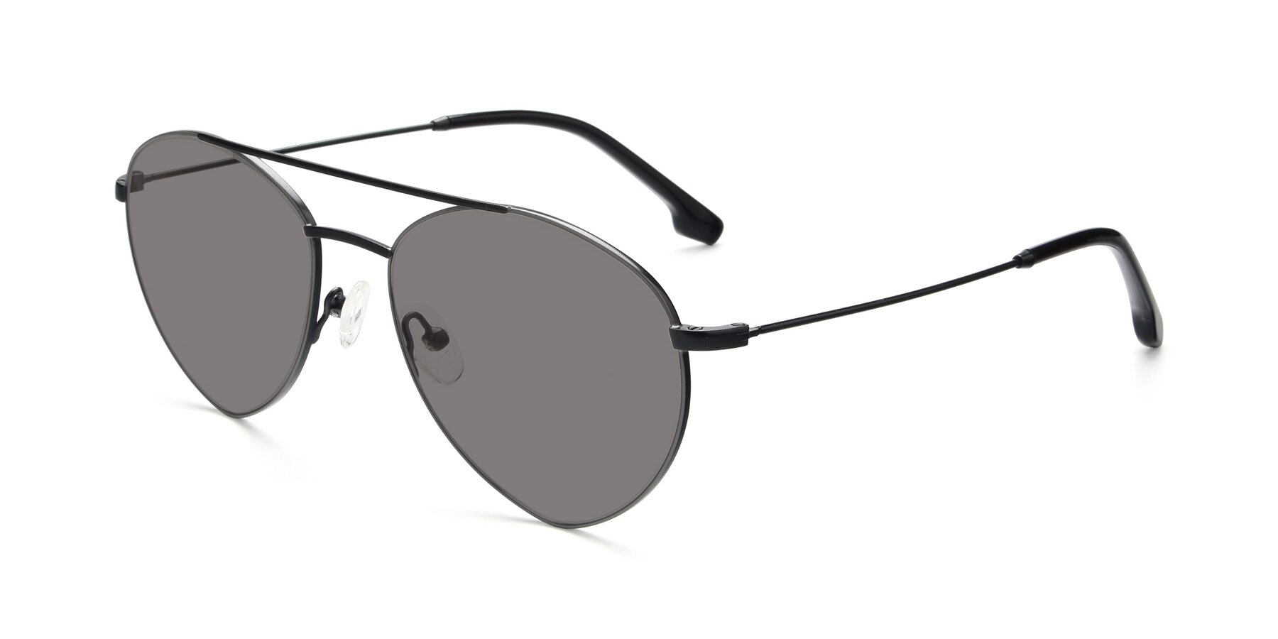 Angle of 9459 in Matte Black-Grey with Medium Gray Tinted Lenses