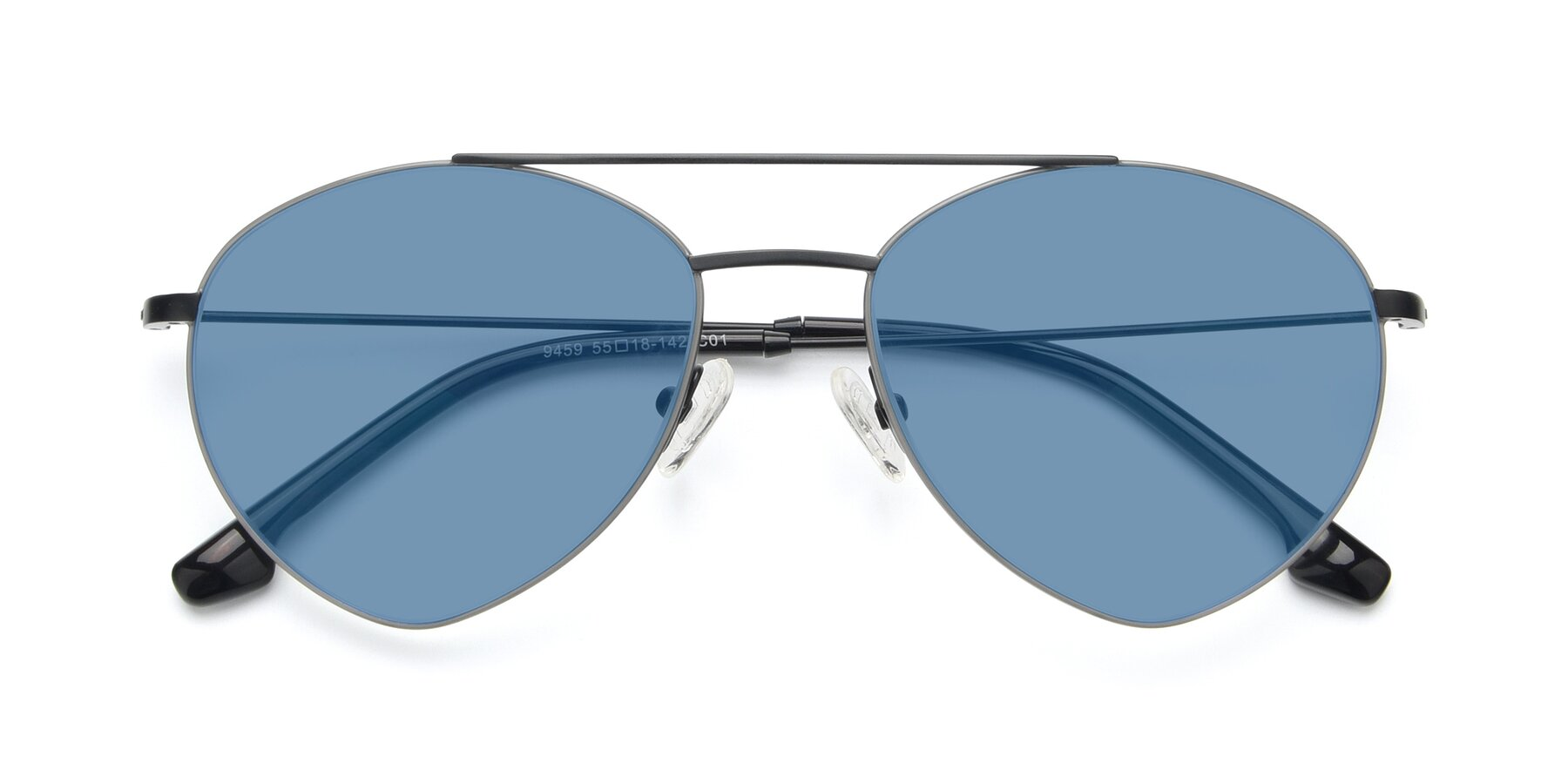 Folded Front of 9459 in Matte Black-Grey with Medium Blue Tinted Lenses