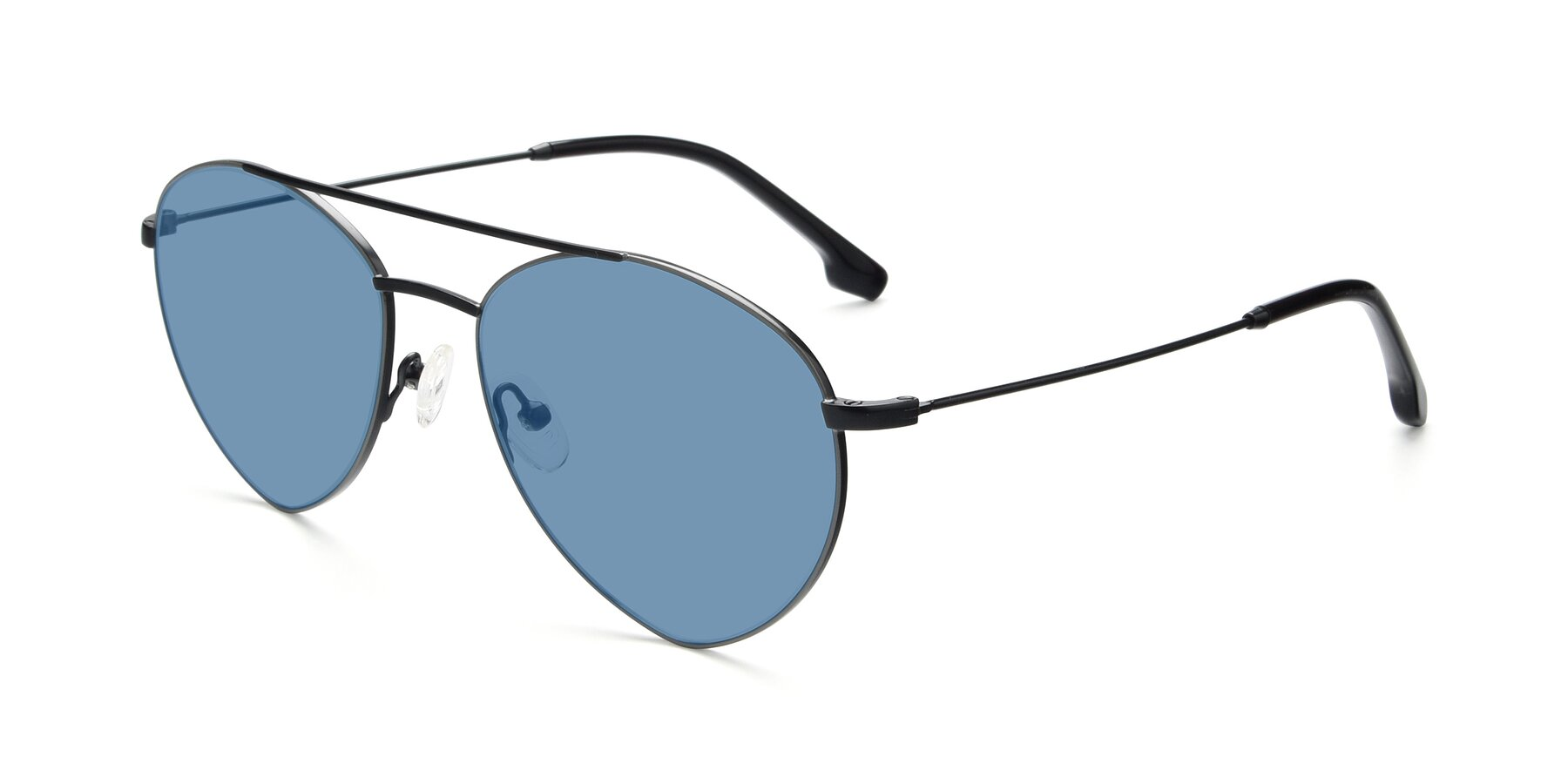 Angle of 9459 in Matte Black-Grey with Medium Blue Tinted Lenses