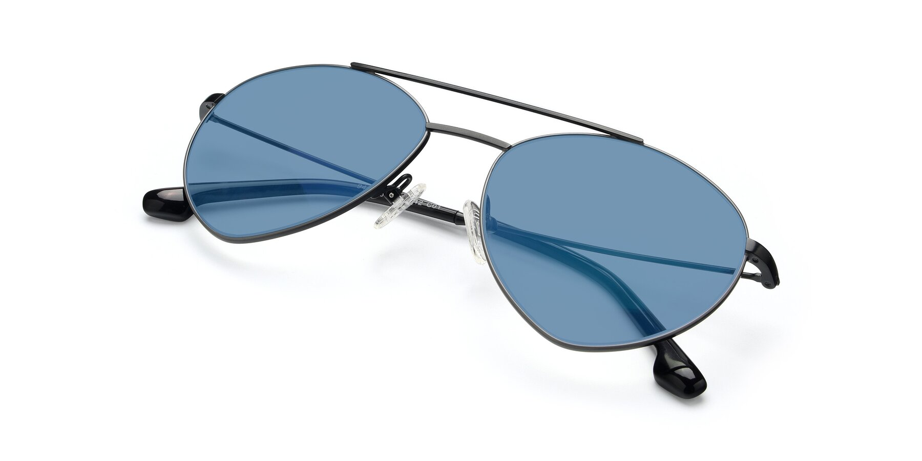 View of 9459 in Matte Black-Grey with Medium Blue Tinted Lenses