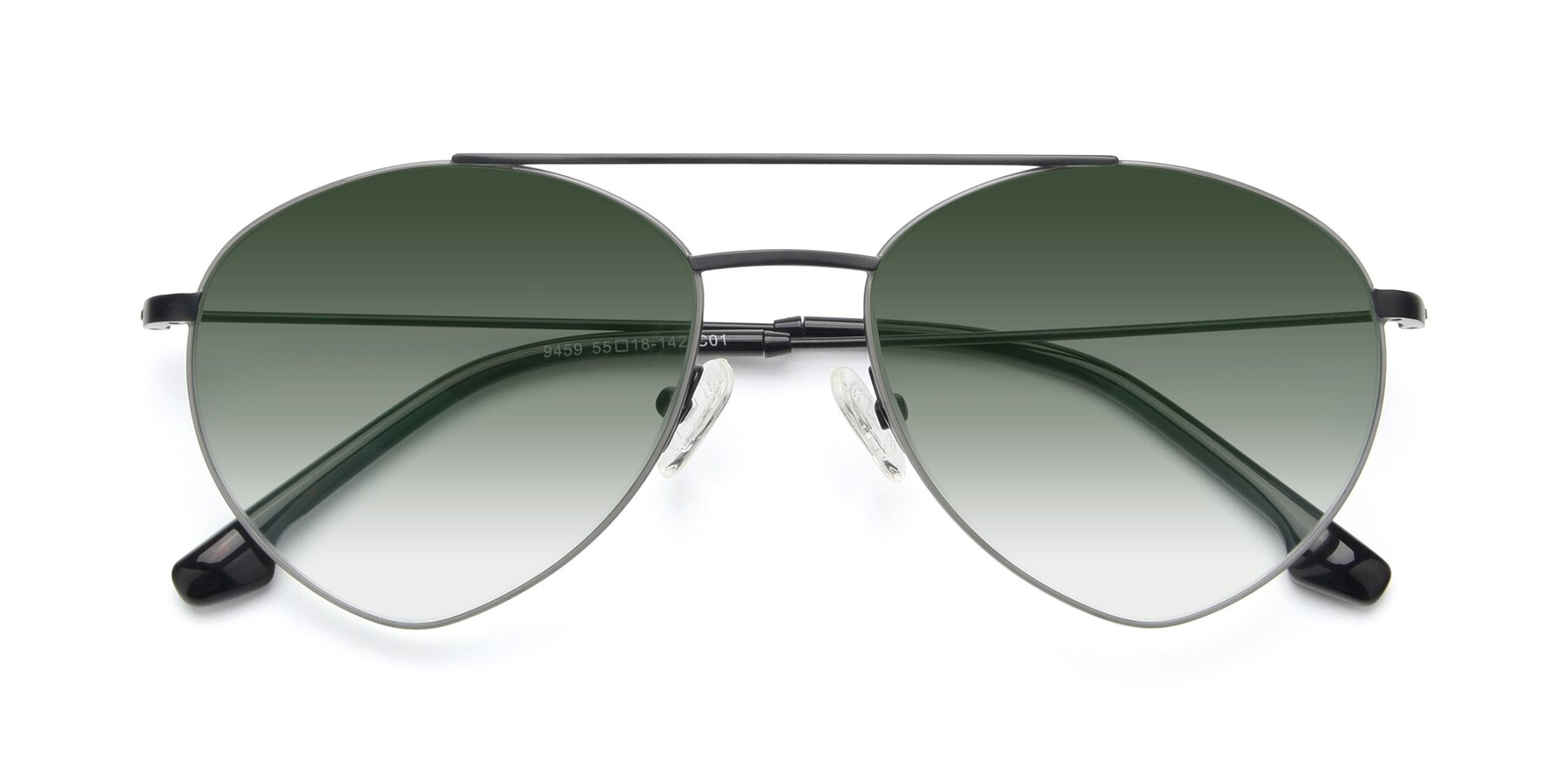 Folded Front of 9459 in Matte Black-Grey with Green Gradient Lenses