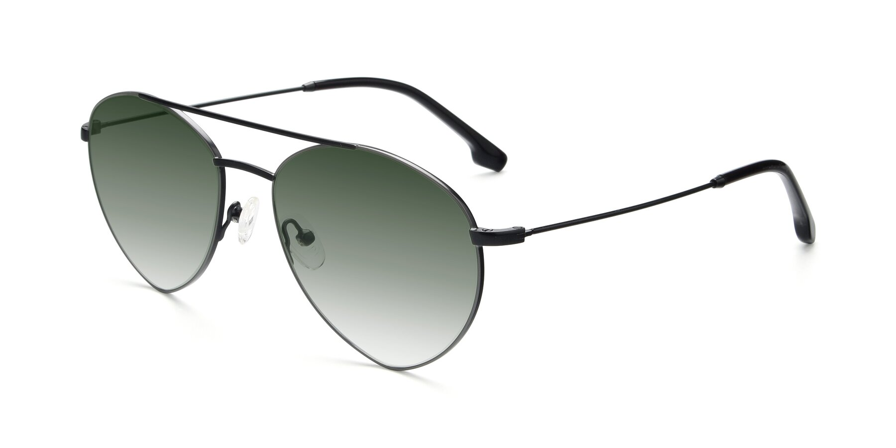 Angle of 9459 in Matte Black-Grey with Green Gradient Lenses