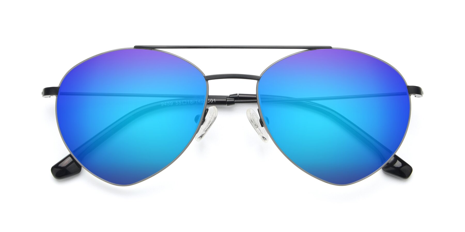 Folded Front of 9459 in Matte Black-Grey with Blue Mirrored Lenses