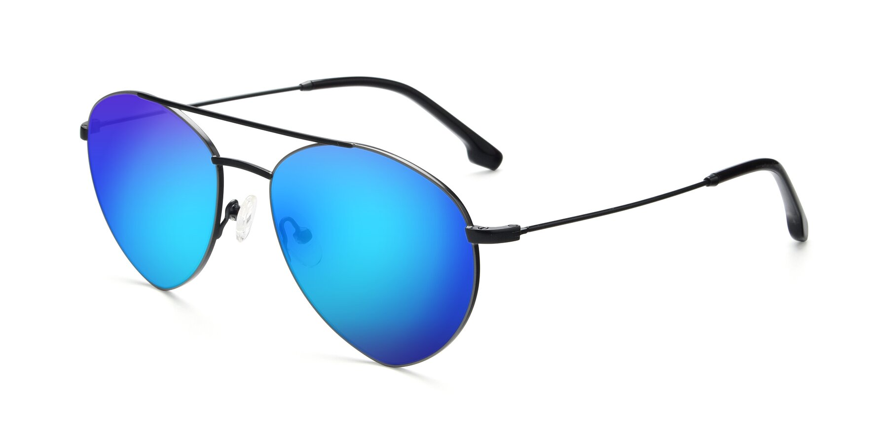 Angle of 9459 in Matte Black-Grey with Blue Mirrored Lenses